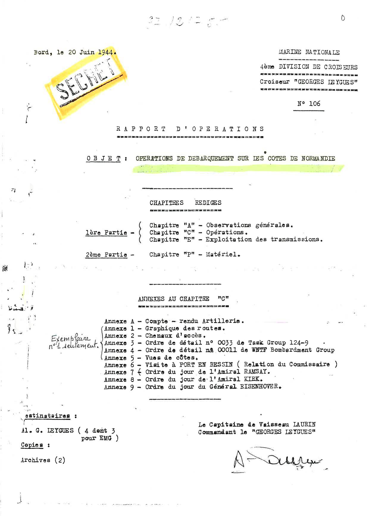 « GEORGES LEYGUES : Rapport d'opérations de la journée du 6 juin 1944 » par Joseph LAURIN