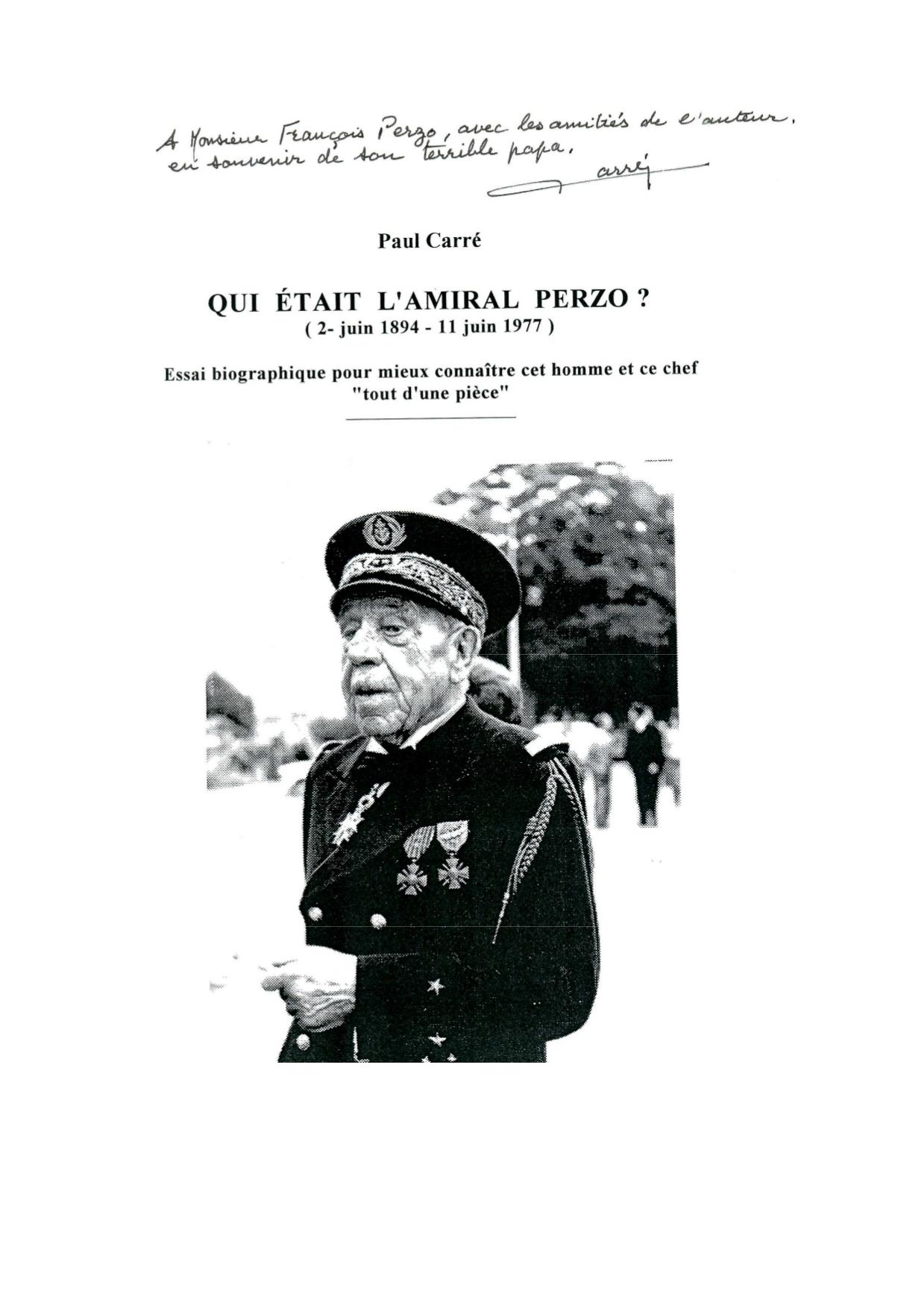 « Qui était l'amiral Charles PERZO ? » par Paul CARRE
